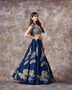 Navy Blue Color Beautiful Attractive Designer Bridal Lehenga-Bridal Lehenga Store CME076