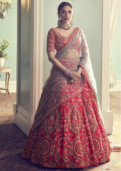 Red Color Attractive Designer Beautiful Bridal Lehenga-Bridal Lehenga Store CMB033