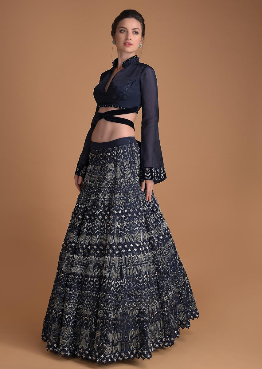 Black Color Attractive Designer Beautiful Bridal Lehenga-Bridal Lehenga Store CMB006