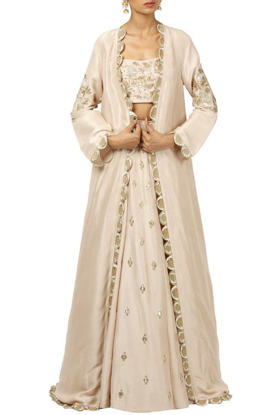 Beautiful Rose blush embroidered lehenga and jacket set-Bridal Lehenga Store