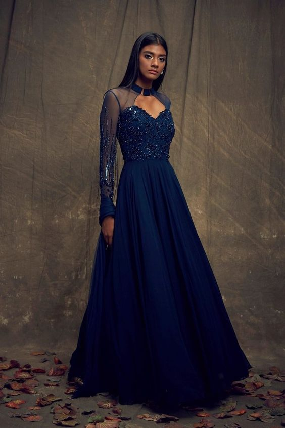 Steelblue Color Beautiful Exclusive Designer Party Wear Dress CMD031