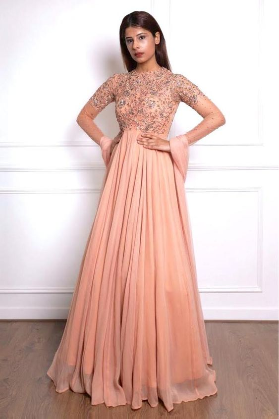 Peach Color Beautiful Exclusive Designer Party Wear Dress CMD032