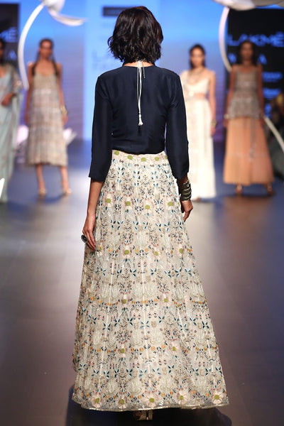 Exclusive Designer Stone embroidered lehenga with navy top-Bridal Lehenga Store