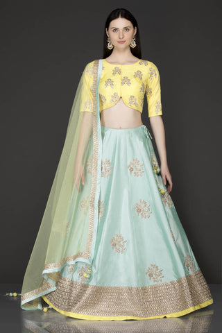 105 Sky blue Beautiful Designer Blue Color Party Wear Lehenga Choli-Bridal Lehenga Store CMH097