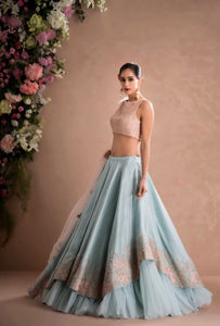 Beautiful Designer Sky Blue and Peach Color Party Wear Lehenga Choli-Bridal Lehenga Choli