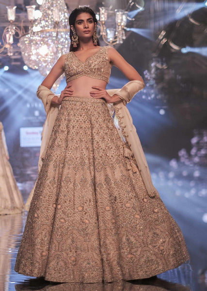 Light peach Color Attractive Designer Beautiful Bridal Lehenga-Bridal Lehenga Store CMB015
