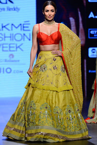 Exclusive Lime And Orange Embellished Lehenga Set-Bridal Lehenga Store