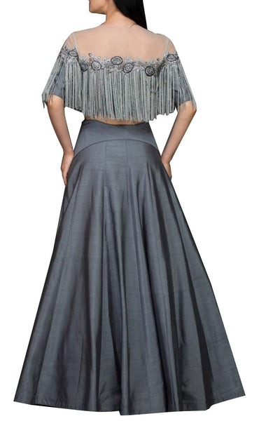Beautiful Exclusive Grey lehenga skirt and top-Bridal Lehenga Store