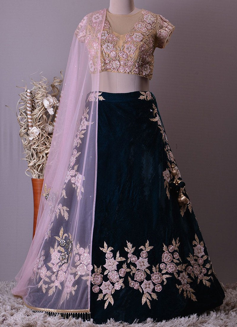 Exclusive Heavy Designer Beautiful Dark Blue Color Party Wear Lehenga Choli - Stylizone