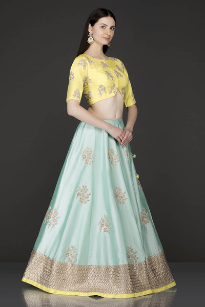 Exclusive Heavy Designer Beautiful Greenish color Lehenga Choli-Bridal Lehenga Store CM1107