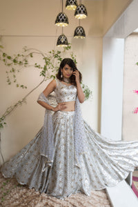 Beautiful Designer Cream Color Party Wear Lehenga Choli-Bridal Lehenga Store