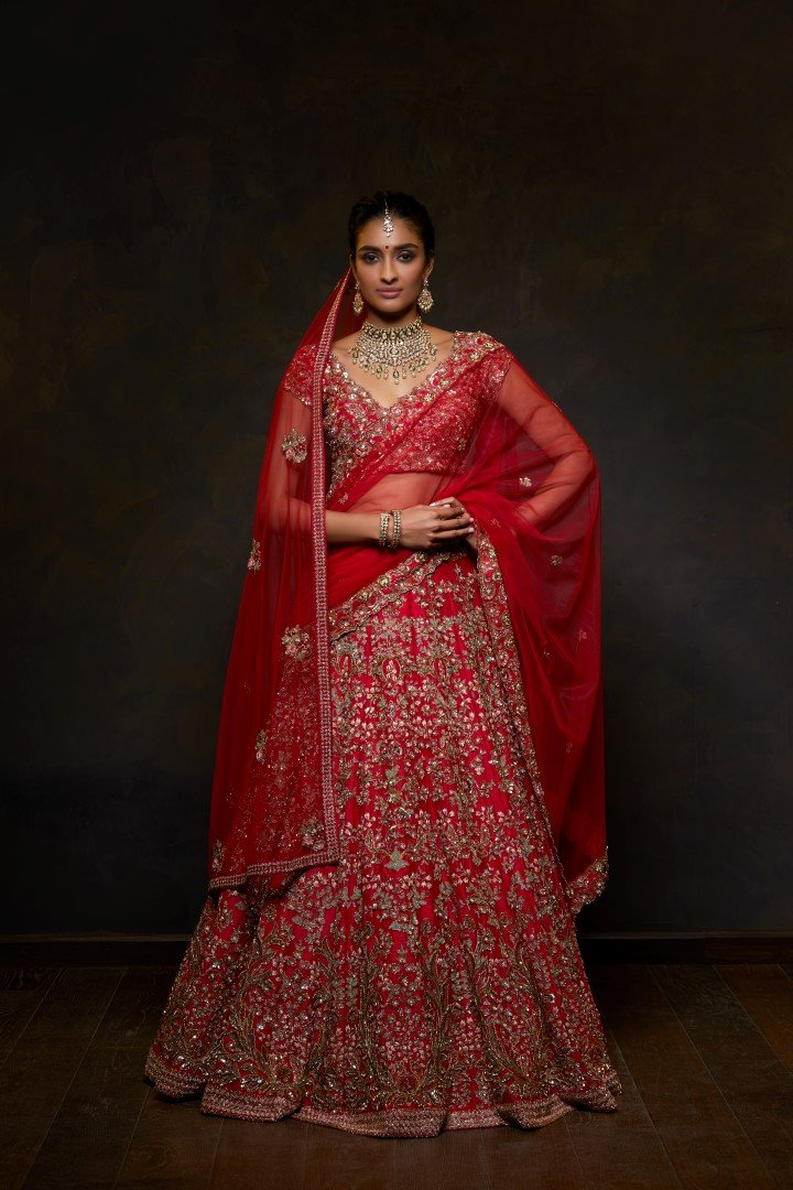 Exclusive Heavy Designer Beautiful Red color Lehenga Choli-Bridal Lehenga Store