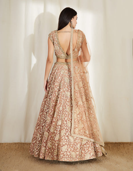 Baby Pink Color Embroidery Work Bridal Lehenga-Bridal Lehenga Store CME022