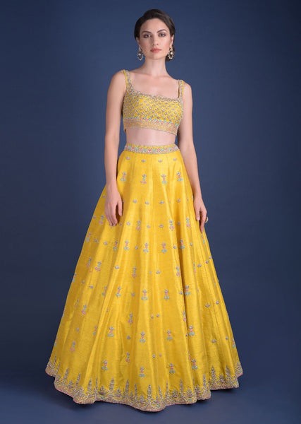 Yellow Color Attractive Designer Beautiful Bridal Lehenga-Bridal Lehenga Store CMB047
