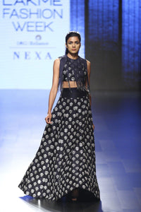 Beautiful Exclusive Navy lehenga skirt with fringe blouse-Bridal Lehenga Store