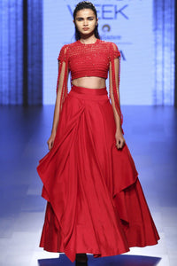 Beautiful Exclusive Red lehenga skirt with fringe blouse-Bridal Lehenga Store