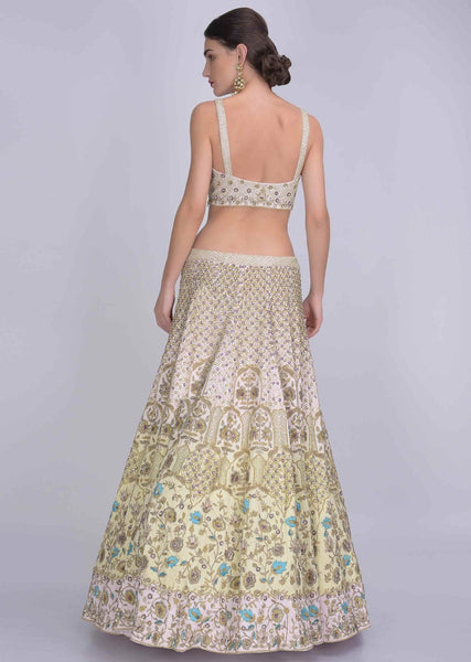 Light Pista Color Attractive Designer Beautiful Bridal Lehenga-Bridal Lehenga Store CMB018