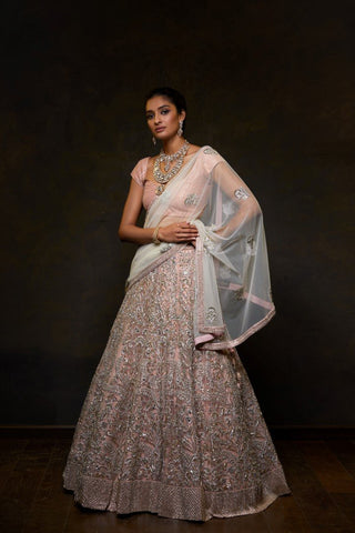 Exclusive Heavy Designer Beautiful Baby Pink color Lehenga Choli-Bridal Lehenga Store