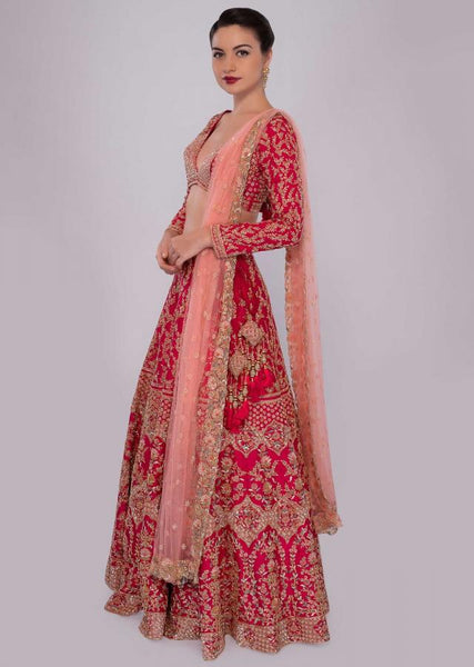 Hot pink Color Attractive Designer Beautiful Bridal Lehenga-Bridal Lehenga Store CMB011
