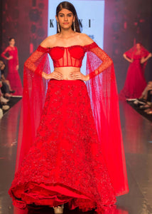 Pure red Color Attractive Designer Beautiful Bridal Lehenga-Bridal Lehenga Store CMB032