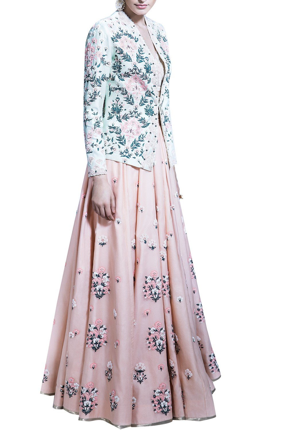 Beautiful Exclusive Blush Lehenga Set With Mint Aari Work Jacket-Bridal Lehenga Store