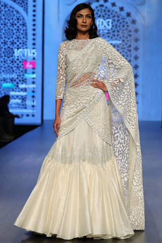 Exclusive Designer Ivory embroidered lehenga set-Bridal Lehenga Store