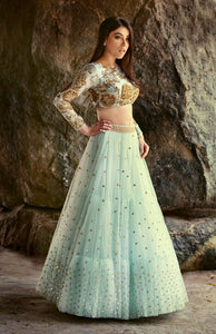 A103 Sky Blue Color Beautiful Attractive Designer Bridal Lehenga-Bridal Lehenga Store CME111
