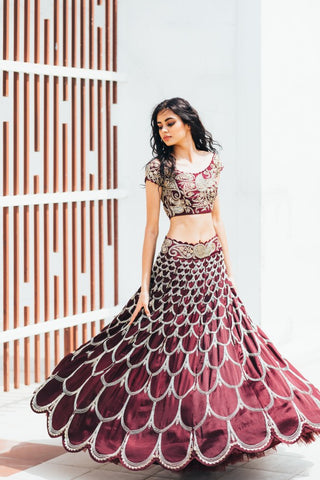 Wine Copy of Beautiful Designer Cream Color Party Wear Lehenga Choli-Bridal lehenga Store CMH103