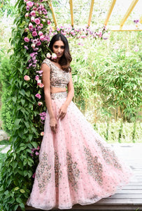 105 Baby pink Copy of Beautiful Designer Cream Color Party Wear Lehenga Choli-Bridal lehenga Store CMH051