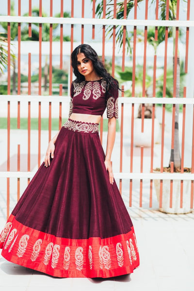 Maroon Copy of Beautiful Designer Cream Color Party Wear Lehenga Choli-Bridal lehenga Store CMH080