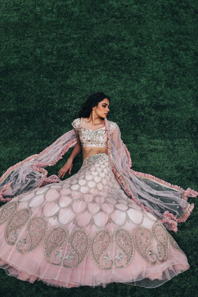 Baby pink Copy of Beautiful Designer Cream Color Party Wear Lehenga Choli-Bridal lehenga Store BLS1056