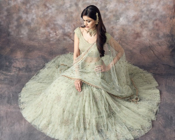 A101 Beautiful Designer Mint Green Color Party Wear Lehenga Choli-Bridal Lehenga Store BLS1055