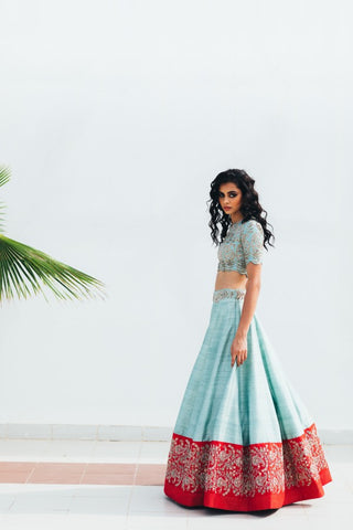 Sky blue Copy of Beautiful Designer Cream Color Party Wear Lehenga Choli-Bridal lehenga Store BLS1056