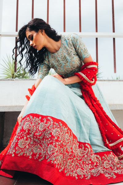 105 Beautiful Designer Sky blue  Color Party Wear Lehenga Choli-Bridal lehenga Store CMH098