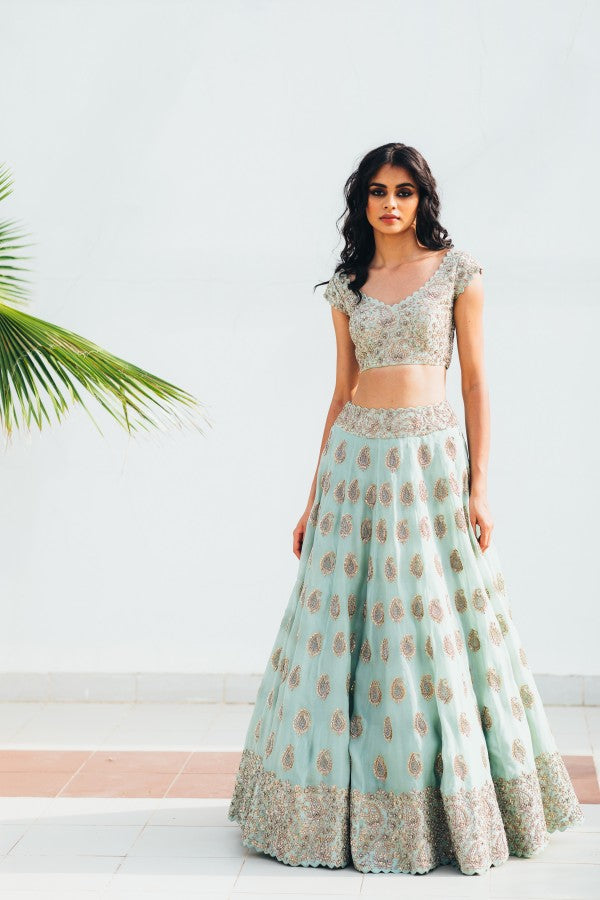 105 Beautiful Designer Sky blue Color Party Wear Lehenga Choli-Bridal lehenga Store CMH099