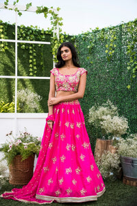 Pink Copy of Beautiful Designer Cream Color Party Wear Lehenga Choli-Bridal lehenga Store CMH091