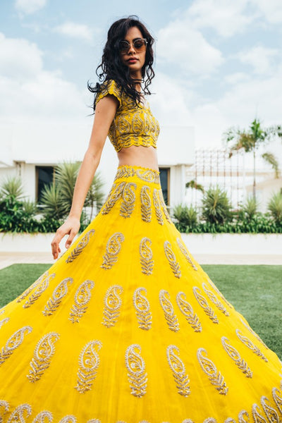 105 Beautiful Designer Yellow Color Party Wear Lehenga Choli-Bridal lehenga Store CMH104