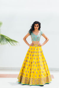 Yellow Copy of Beautiful Designer Cream Color Party Wear Lehenga Choli-Bridal lehenga Store CMH105