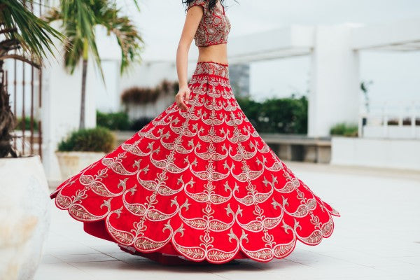 Red Copy of Beautiful Designer Cream Color Party Wear Lehenga Choli-Bridal lehenga Store CMH092