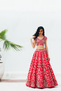 Red Copy of Beautiful Designer Cream Color Party Wear Lehenga Choli-Bridal lehenga Store CMH093