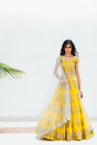 Yellow Copy of Beautiful Designer Cream Color Party Wear Lehenga Choli-Bridal lehenga Store CMH104