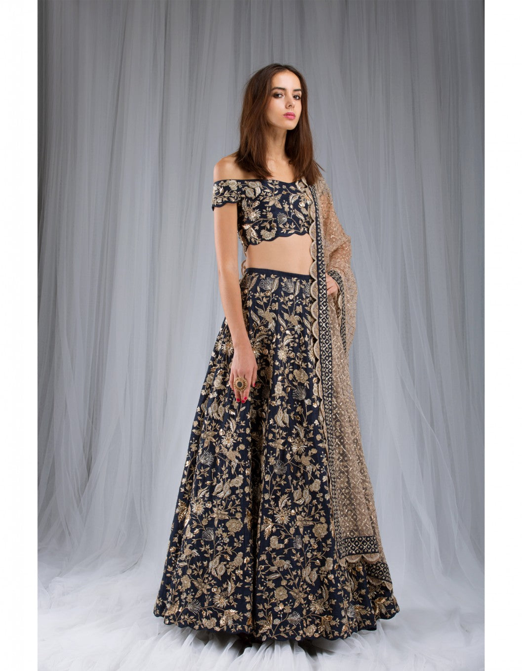 Navy Blue Color Exclusive Designer Bridal Lehenga-Bridal Lehenga Store CME081