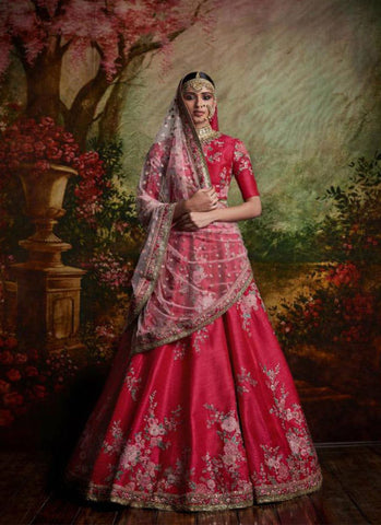 A117-Exclusive Heavy Designer Amaranth Red Color Floral Design Bridal Lehenga Choli - Stylizone