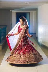 A122-Exclusive Heavy Designer Red Color Traditional Designer Bridal Lehenga Choli - Stylizone