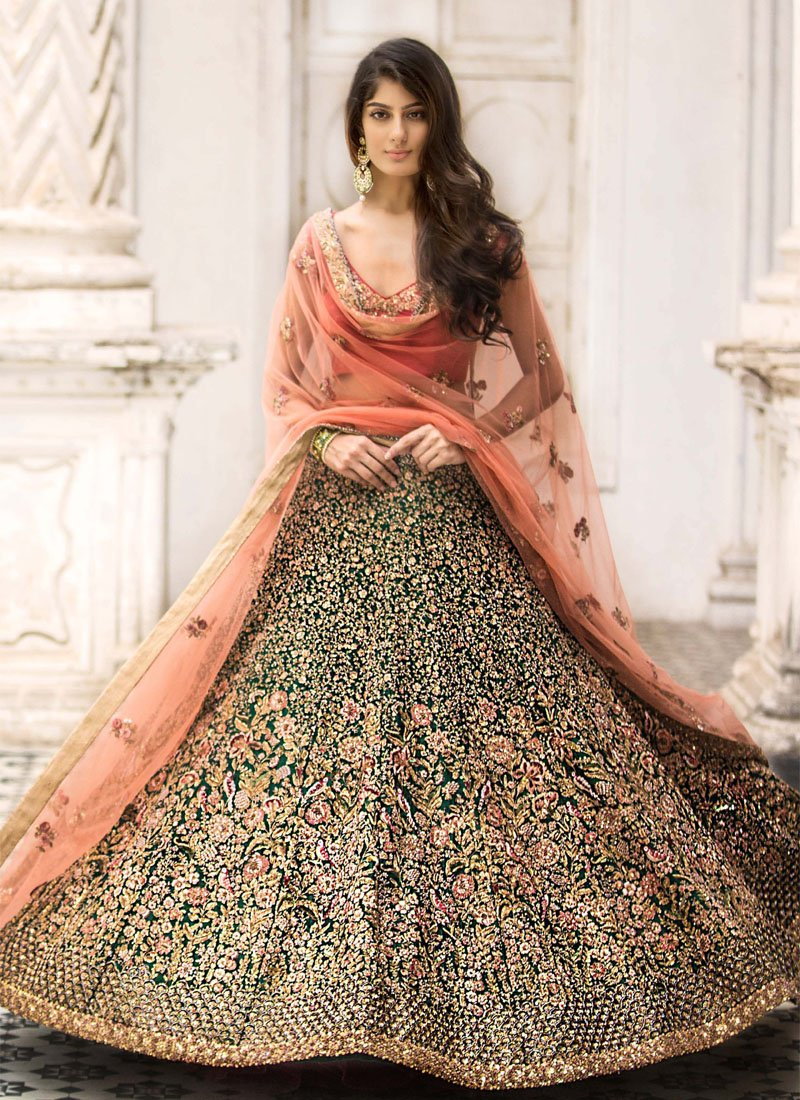 Exclusive Heavy Designer Beautiful Dark Green Color Bridal Lehenga Choli - Stylizone