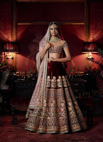 A116-Exclusive Heavy Designer Beautiful Maroon Color Bridal Lehenga Choli - Stylizone