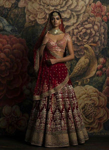 A115-Exclusive Heavy Designer Beautiful Maroon Color Bridal Lehenga Choli - Stylizone