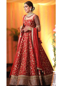 A118-Exclusive Heavy Designer Beautiful Bridal Red Color Bridal Lehenga Choli - Stylizone