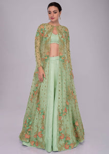 Pista green Color Attractive Designer Beautiful Bridal Lehenga-Bridal Lehenga Store CMB030