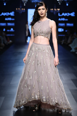 Beautiful Ash Grey Pitha Work Lehenga Skirt With Blouse-Bridal Lehenga Store